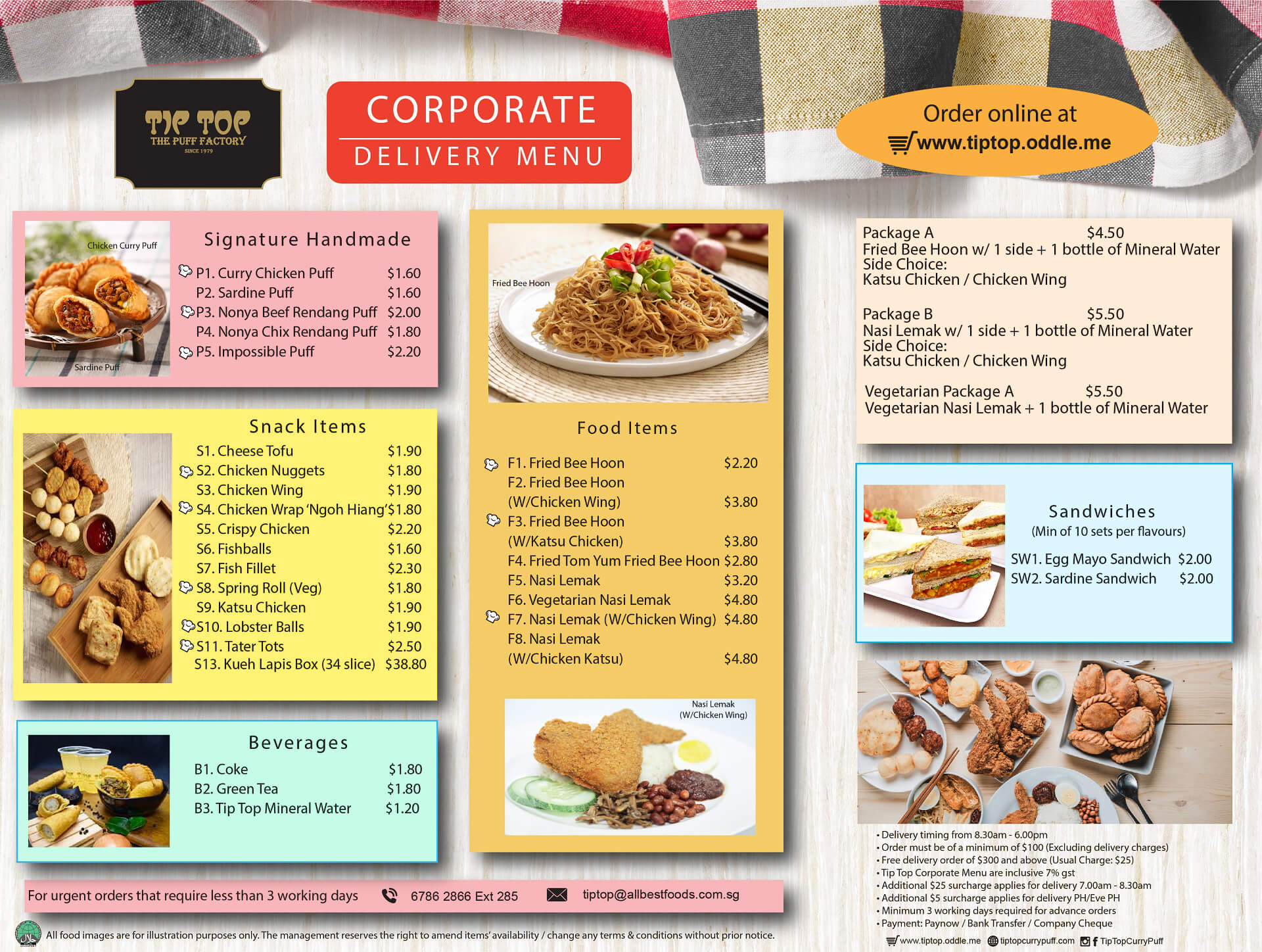 Tip Top Corporation Delivery Menu